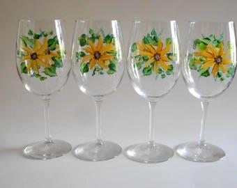 Sunflower Wine Glasses Set of 4 Handpainted Clear Glass White Wine Shape Sunflower Kitchen Sunflower Barware Sunflower Stemware