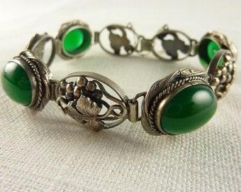 Antique Italian Art Deco Sterling Green Chalcedony Handmade Bracelet