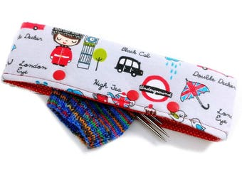 Stitch Holder Point Protector Zipper Pouch Needle Nook - DPN and Circular Project Holder - Anglophile (flannel)