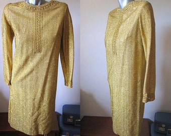 Vintage 60s Gold Ribbed Lame Long Sleeved Shift Dress with Iridescent Rhinestone Detail