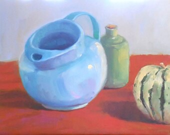 Oil Painting on Canvas Panel, Blue Pitcher, 11 x 14 Still Life