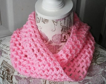 Twisted Cowl Neck Warmer Pink Crochet Scarf