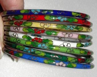 Vintage Set of 9 Cloisonne Bangle Bracelets