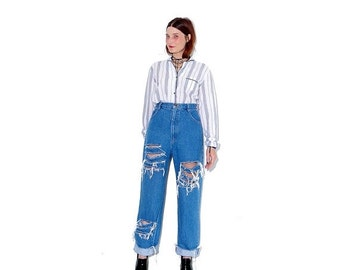 OMG HALF OFF adorable 90s Jeans / medium large 29 waist / high waisted jeans mom jeans ripped jeans distressed jeans boyfriend jeans 90s clo