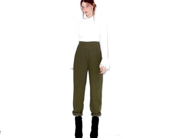 adorable vintage olive green trousers / medium large / insanely soft felted faux wool pants high waisted pants high waisted trousers