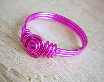 Wire Wrapped Ring - Pink Wire Wrapped Ring - Wire Jewelry - Pink Wire Jewelry - Wire Jewellery -