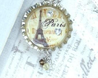 Paris Pendant Necklace Eiffel Tower Necklace Travel Necklace Paris Gift Bottle Cap Necklace Paris Jewelry