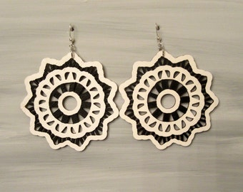 Hand Painted Laser Cut Black and White Earrings