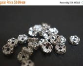 SWEET SALE Silver Plated Rhinestone Spacers Curved Edges Rondelle Beads - 5mm - 20 pcs