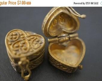 MARCH DEALS Authentic Vintage Stock Raw Brass Cute Heart Shape Magic Chest Mini Charm Wish Box - 2 pcs - NO Coupon