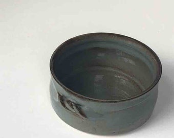 2 Plus Cups Stoneware Crock, Blue Gray and Brown, Appetizer Serving Dish, Kitchen Serving, Small Baker, Serving Ovenware