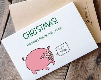 Printable Funny Pig Christmas Card - Christmas turkeys and pigs