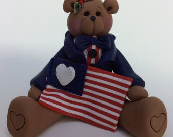 Patriotic 4th of July Polymer Clay Bear with USA Flag