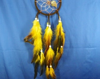 Brown and Yellow  Dream Catcher with Arrowhead Native American Made