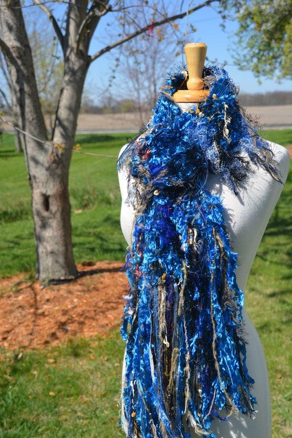 Knit Fringe art scarf, Dumpster Diva Series, Royal Blue satin ribbon knit artsy fringed wide scarf, ribbon scarves, wearable art scarf