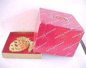 Reed & Barton Vintage Christmas Tree 24K Gold Plated Ornament Original Box Lace Basket