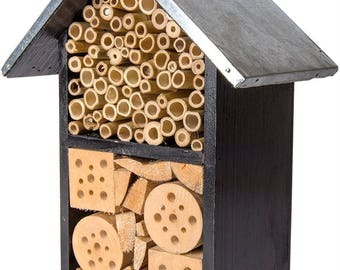 Beneficial Bug Hotel-Black Metal Roof-Organic gardening house-Pollinator house