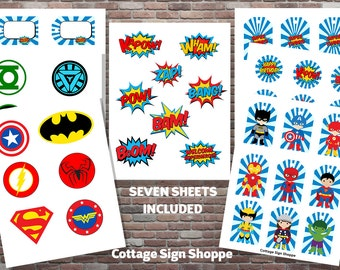 Superhero Party, Superhero Stickers, Superhero Cupcake Toppers, INSTANT DOWNLOAD, Superhero Party Decorations, Superhero Theme Party