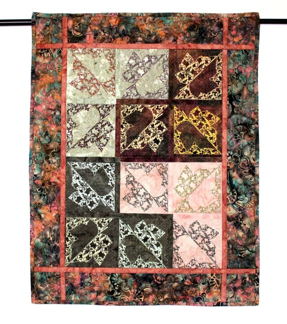 Autumn leaves wall hanging embroidered quilt