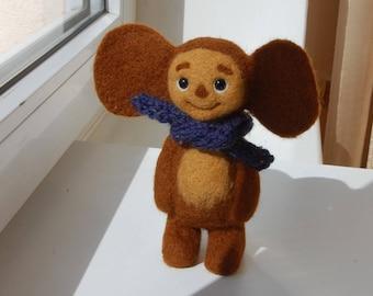 "Cheburashka 6"", Miniature Needle Felted Soft Sculpture, OOAK"
