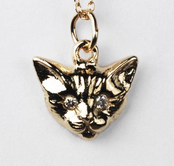 Yellow Gold and White Diamond Kitty Cat Charm