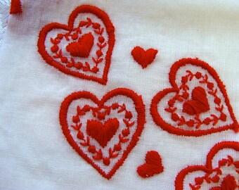 Vintage Valentine Embroidered Hankie N0 7