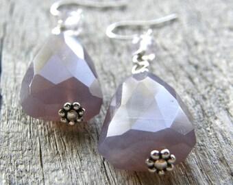 20% OFF Purple Chalcedony Earrings, Amethyst Gemstone Earrings, Nugget Earrings