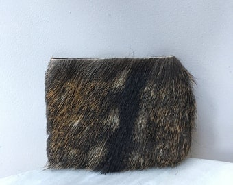 Little deer // handmade // hair on hide leather fur clutch spotted // purse // wallet // pouch