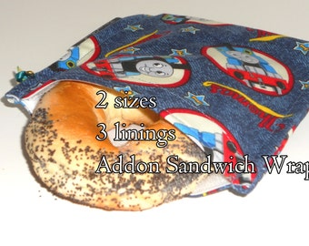 Reusable Snack Bag Thomas the Train and Sandwich Wrap, 2 sizes, Choice of Lining, Washable, Storage