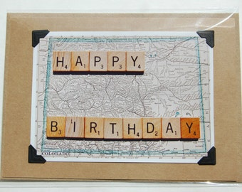 Vintage map scrabble tile happy birthday blank inside greeting cards