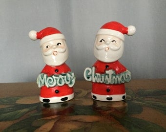 Santa Vintage Merry Christmas Salt and Pepper Shakers Set of 2 Figurines Made in Japan Distressed Red White Ceramic Holiday Decor Gift