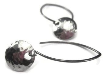 Round Earrings in Hammered Sterling Silver Wishbone Wires Mixed Metal
