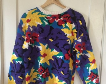 Bright Patterned Floral Oversize Sweater - Size Small or Medium