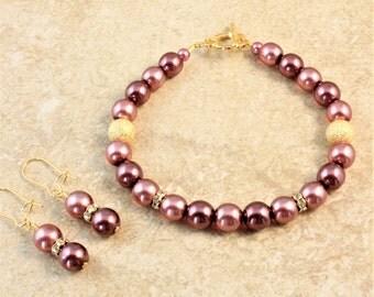 Rose Druk Glass Pearl Gold Wedding Bracelet and Earrings Set Bridal Bridesmaid Bride