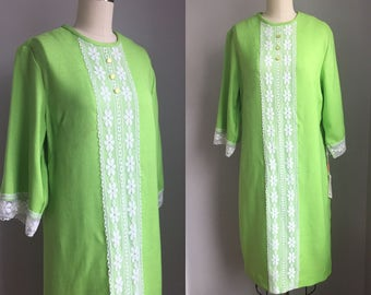 Vintage 1960s NOS Lime Green Linen and Lace Bell Sleeve Shift Dress with tags Size Large