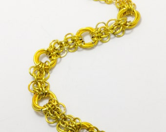 Yellow Chainmaille Butterfly Weave Bracelet