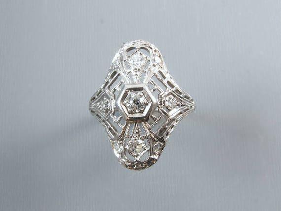 Art Deco nine .32ct diamond 18k white gold ring, size 7 / bridal / wedding / vintage engagement ring /engagement ring
