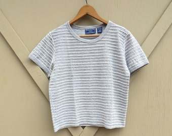90s vintage Grey and White Ribbed Striped Short Sleeve T-Shirt / Susquehanna Trail Outfitters Grey and White Striped Tee Shirt