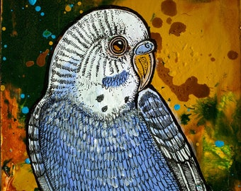 Original Blue Parakeet Miniature Art by Lynnette Shelley