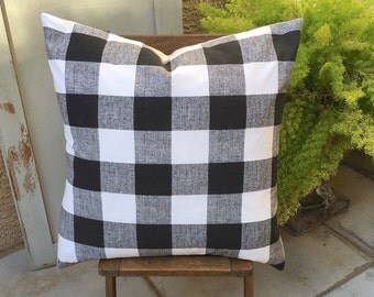 Farmhouse Black and White Buffalo Check Pillow Cover  24x24  Modern / Industrial / Lodge