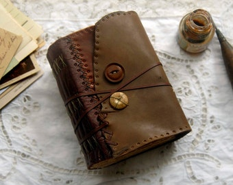 The Wanderer - Recycled Leather Journal, Antique Map, Aged Paper, OOAK