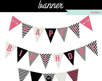 Happy Birthday Banner Printable, Party Banner, Party Printable, Digital File, Instant Download, Pink and Black, Hot Pink, Teen Girl Birthday