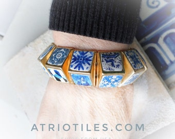 Portugal 24 Antique Azulejo Tile Replica Bracelet - History on your wrist!  Tiles from convents,  churches, houses OOAK