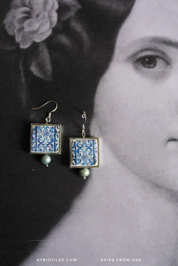 Silver Earrings Portugal Tile Portuguese Blue Azulejo FRAMED AvEIRO Santa Joana Convent 1458 -Waterproof and Reversible Gift Boxed  543