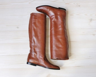 Vintage 1980s Caramel Leather Slouch Calf High Boots / Slip On Boots / Size 6 US / Evan Picone