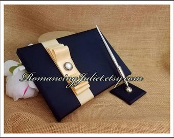 Romantic Satin Wedding Guest Book and Pen Set with Delicate Pearl Accent...You Choose the Satin Colors.... shown in navy blue/champagne