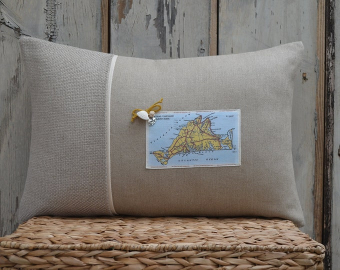 Martha's Vineyard Map Postcard Pillow (available in 4 styles)