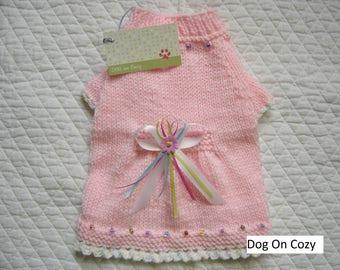 Hand Knit Dog Sweater, Flared Pet Sweater, Size SMALL, Glitter Pink
