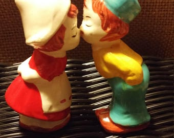 Vintage Kissing Dutch Boy and Girl Salt and Pepper Shakers
