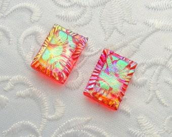 Dichroic Fused Glass Earrings - Button Earrings - Dichroic Earrings - Stud Earrings - Post Earrings - Small Earrings - Green Earrings 1451